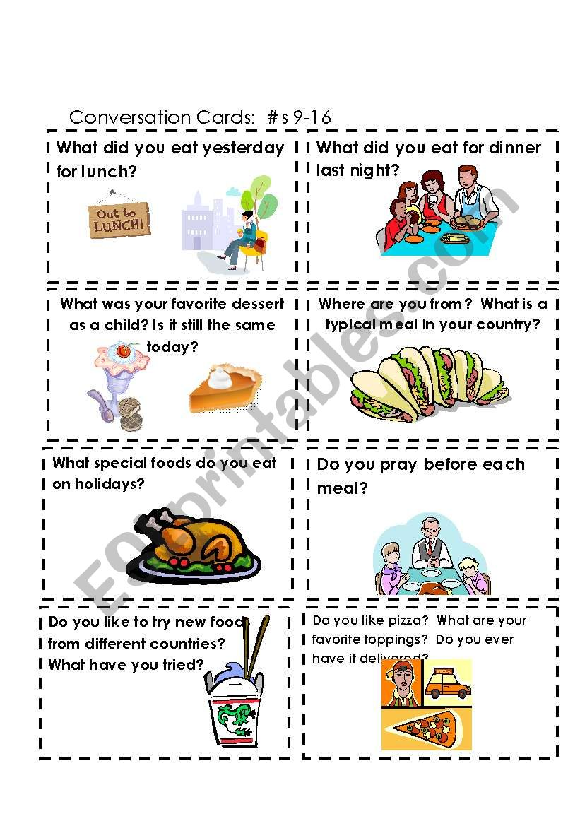 Conversation Cards  Food  #s 9-16