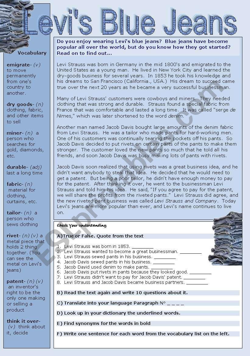 Levi´s Blue Jeans worksheet