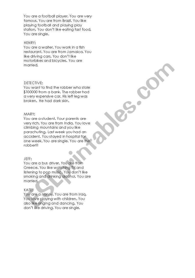 bank robbery role play - ESL worksheet by sydneyozge