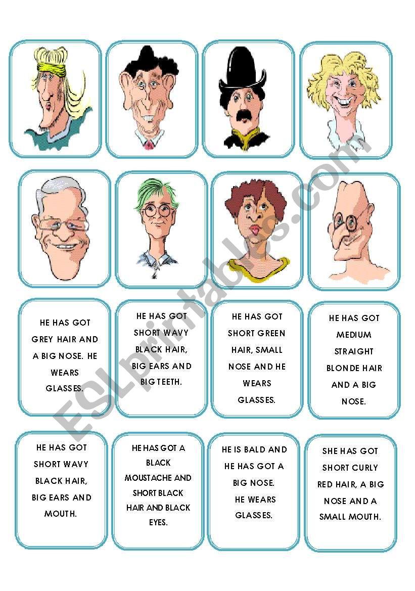 Memory game faces description worksheet