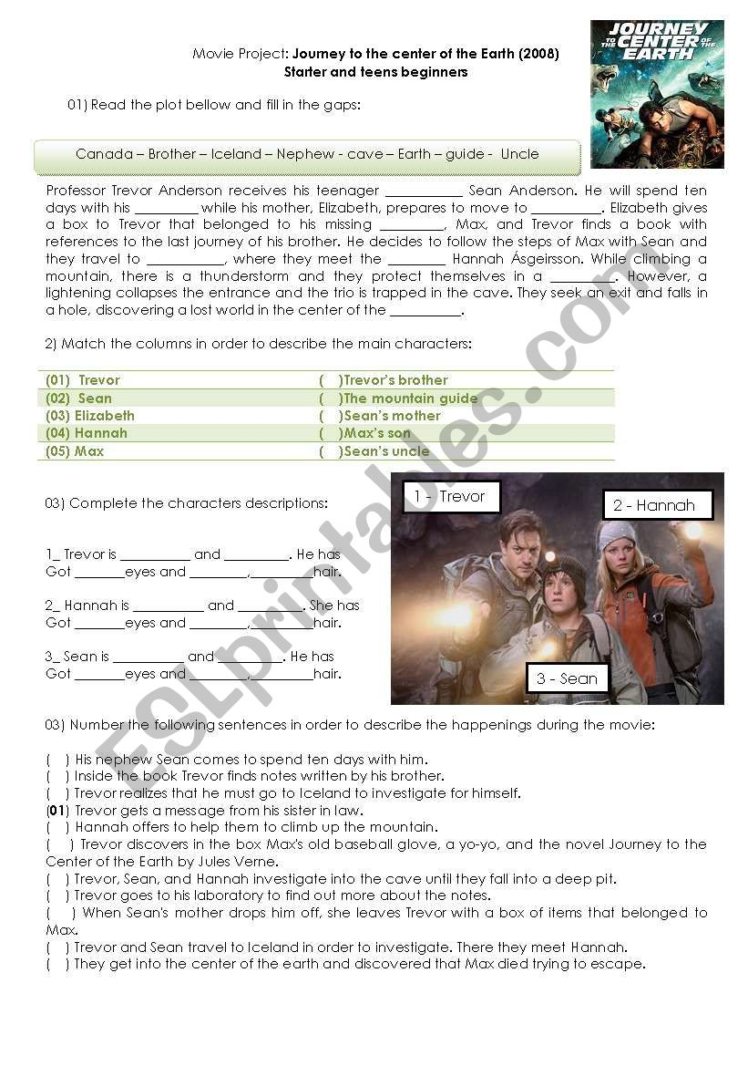 Journey to the center of the earth - Movie activity - ESL worksheet ...