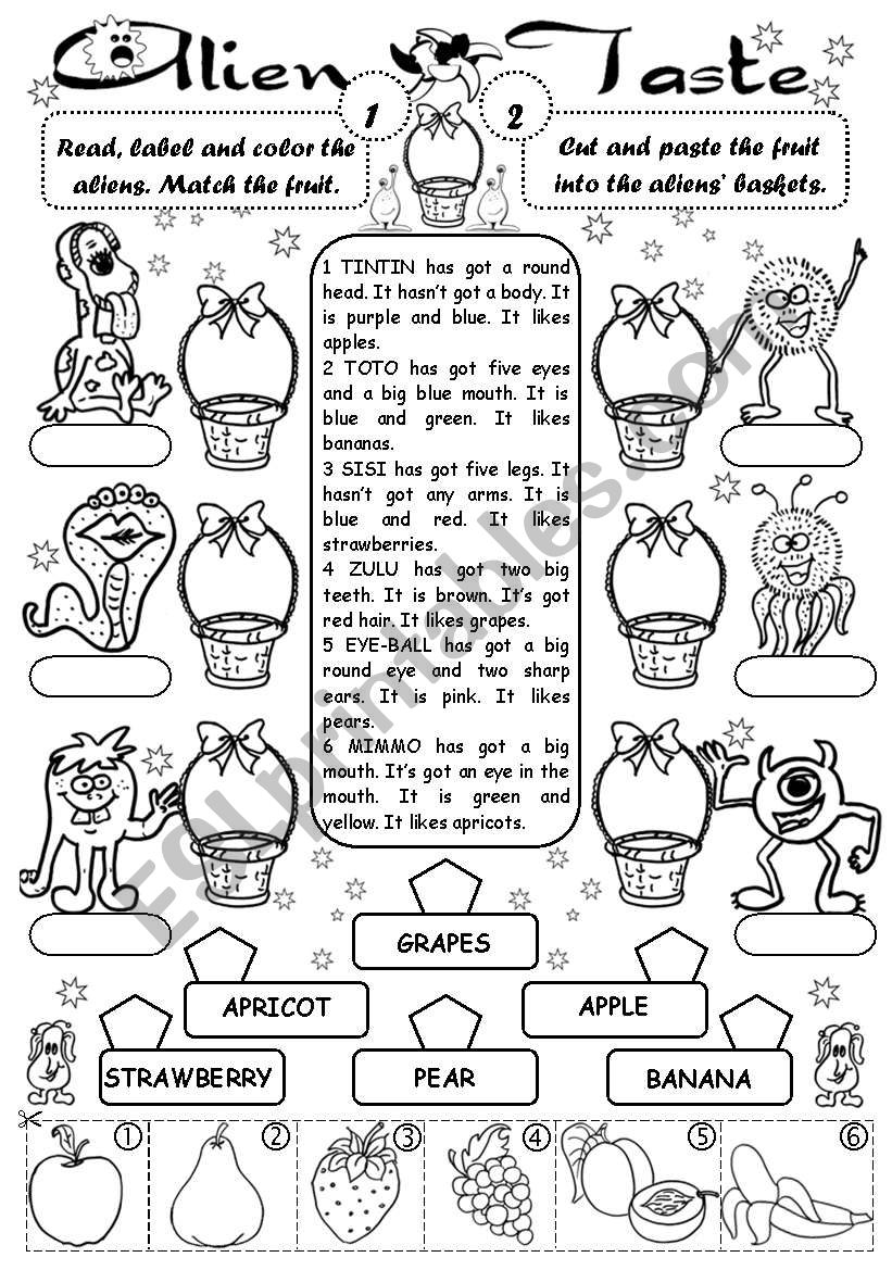 Alien Taste (fruit) worksheet