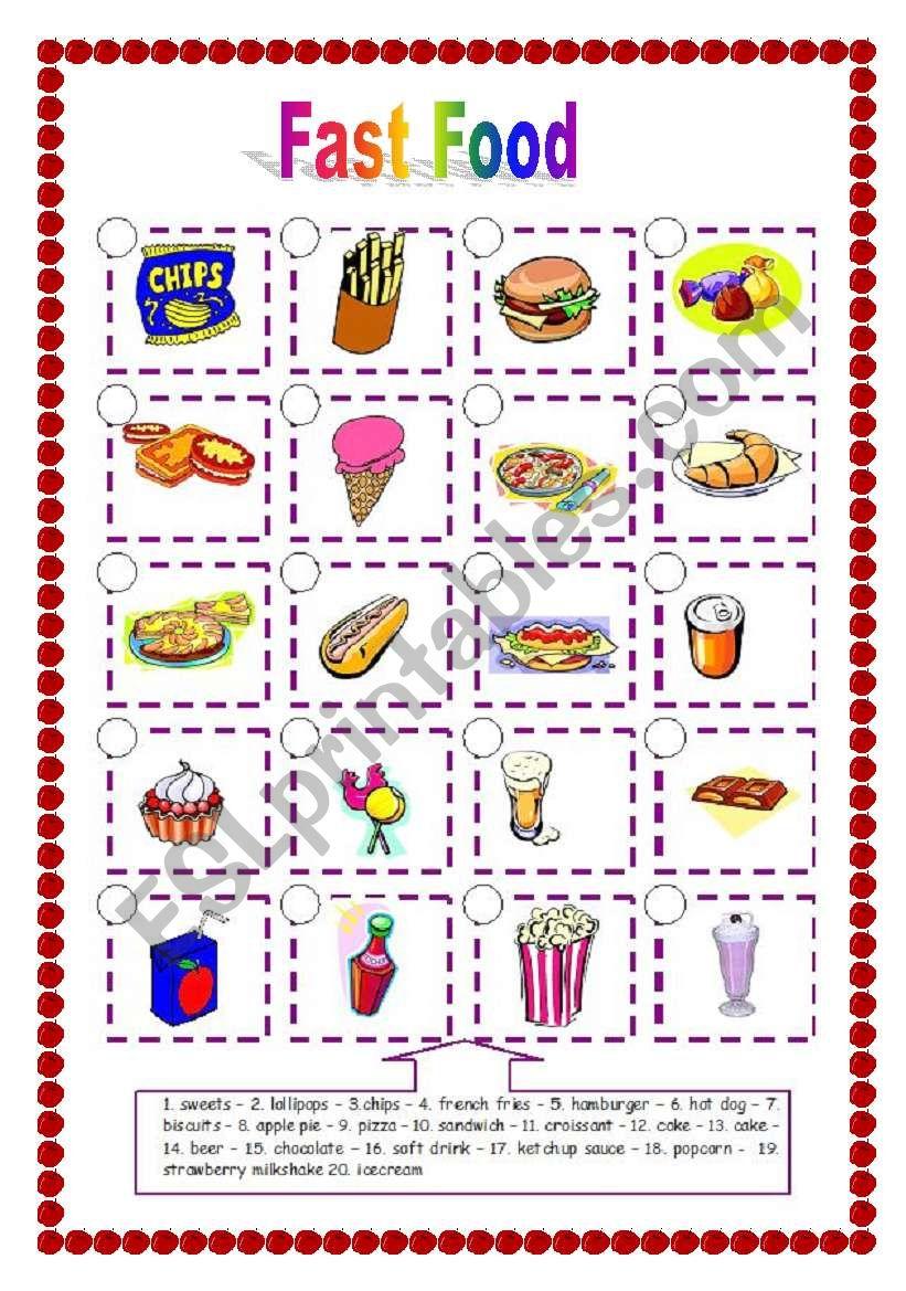 Fast Food (06.04.09) worksheet