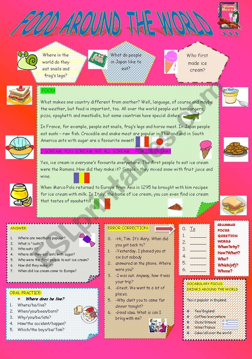 FOOD AROUND THE WORLD worksheet