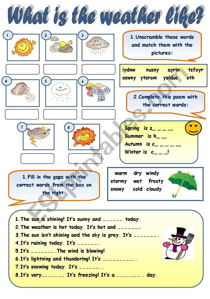 english worksheets what is the weather like weather vocabulary practice for beginners with. Black Bedroom Furniture Sets. Home Design Ideas