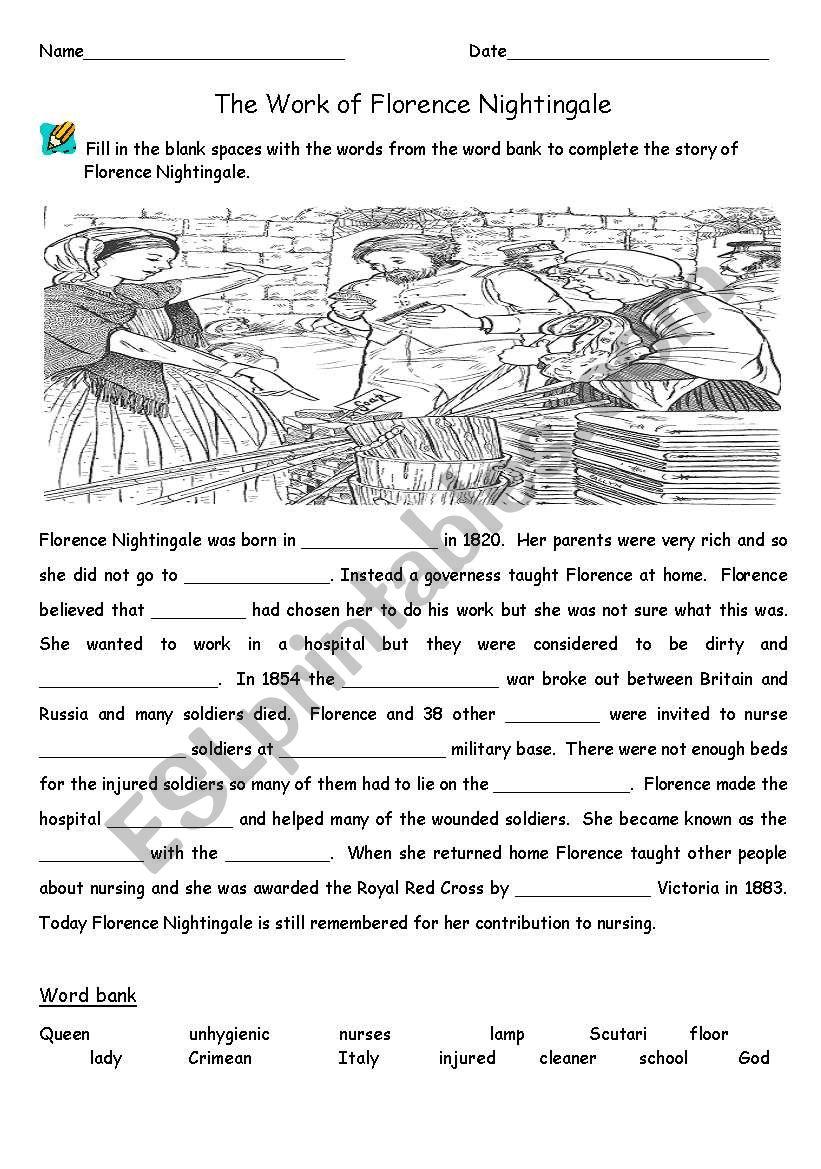 Florence Nightingale Cloze worksheet