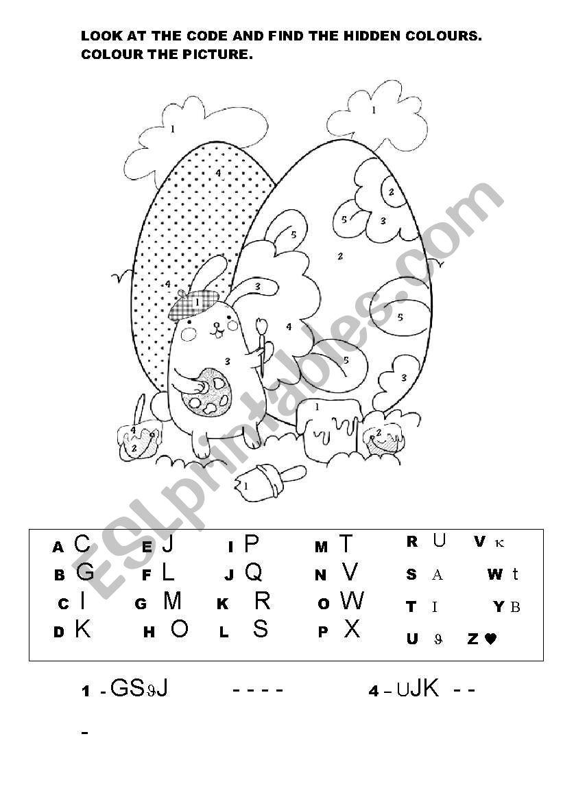 EASTER BUNNY - HIDDEN COLOURS worksheet