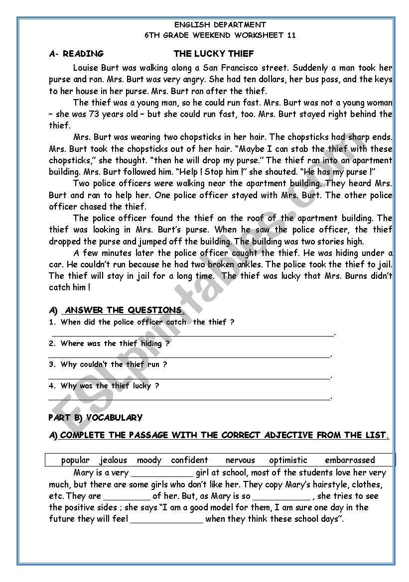 reading&writing worksheet
