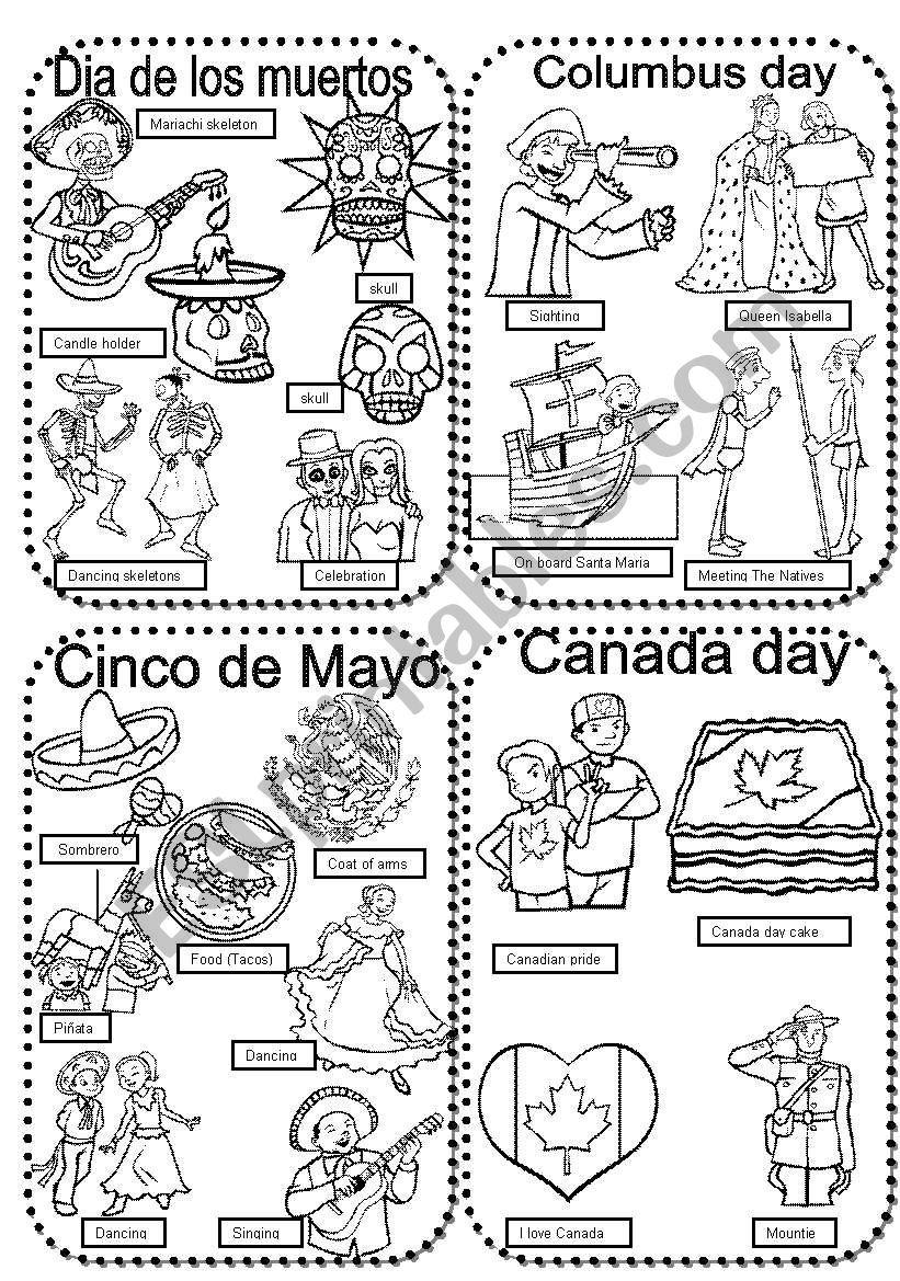 Celebrations 7 Dia De Los Muertos Columbus Day Cinco De Mayo Canada Day Esl Worksheet By Im Lety