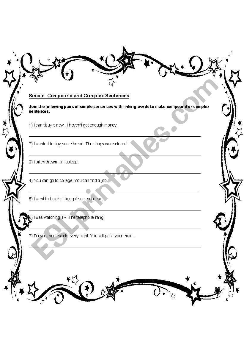 Simple compound complex sentences esl worksheet by newthis simple compound complex sentences ibookread Read Online