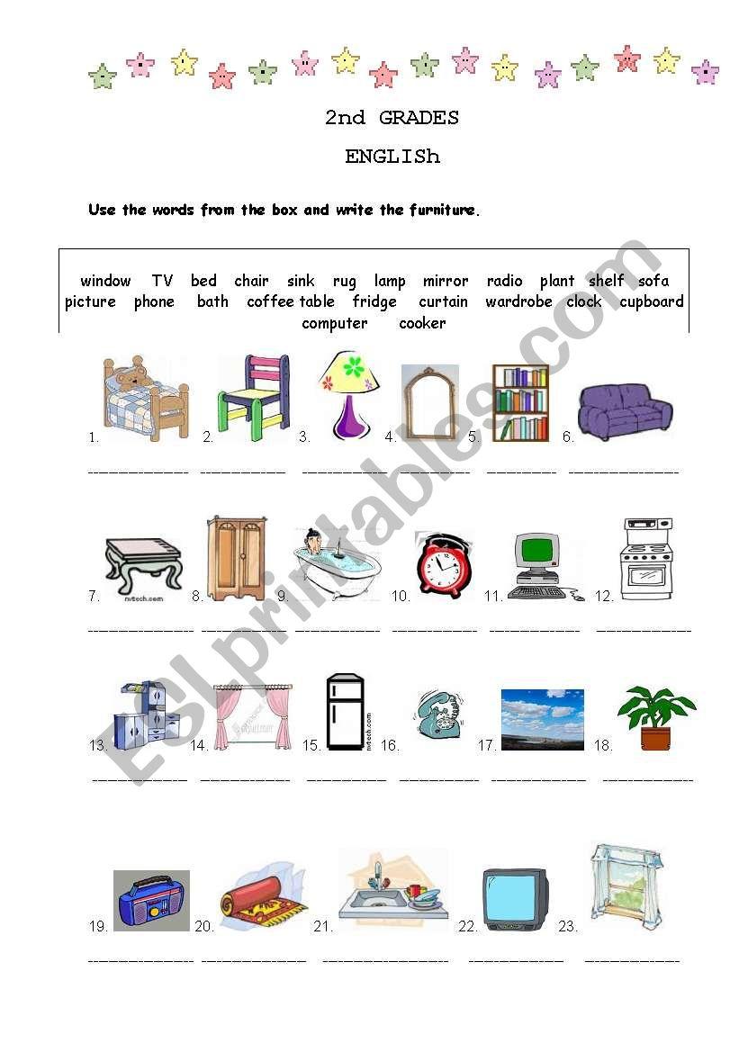 furniture worksheet worksheet