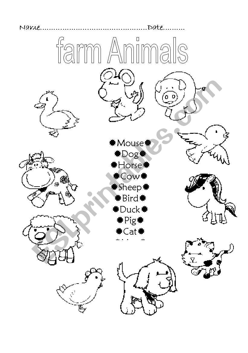 Farm animals - ESL worksheet by ruthcaher