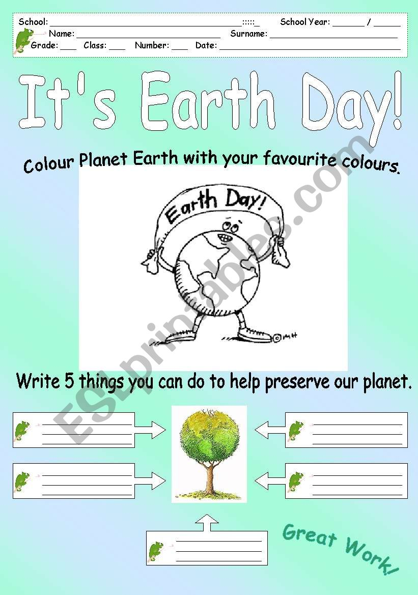 It´s Earth Day! worksheet