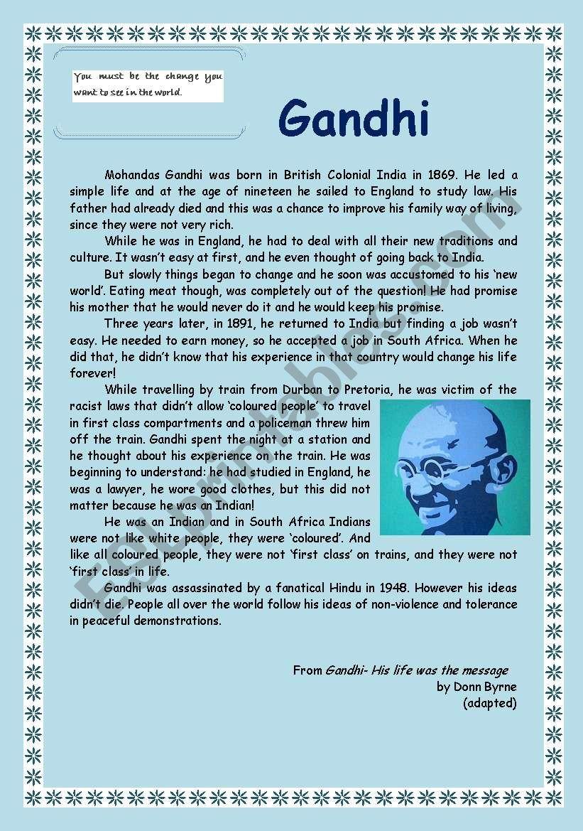 Gandhi Reading Comprehension (4 pages)