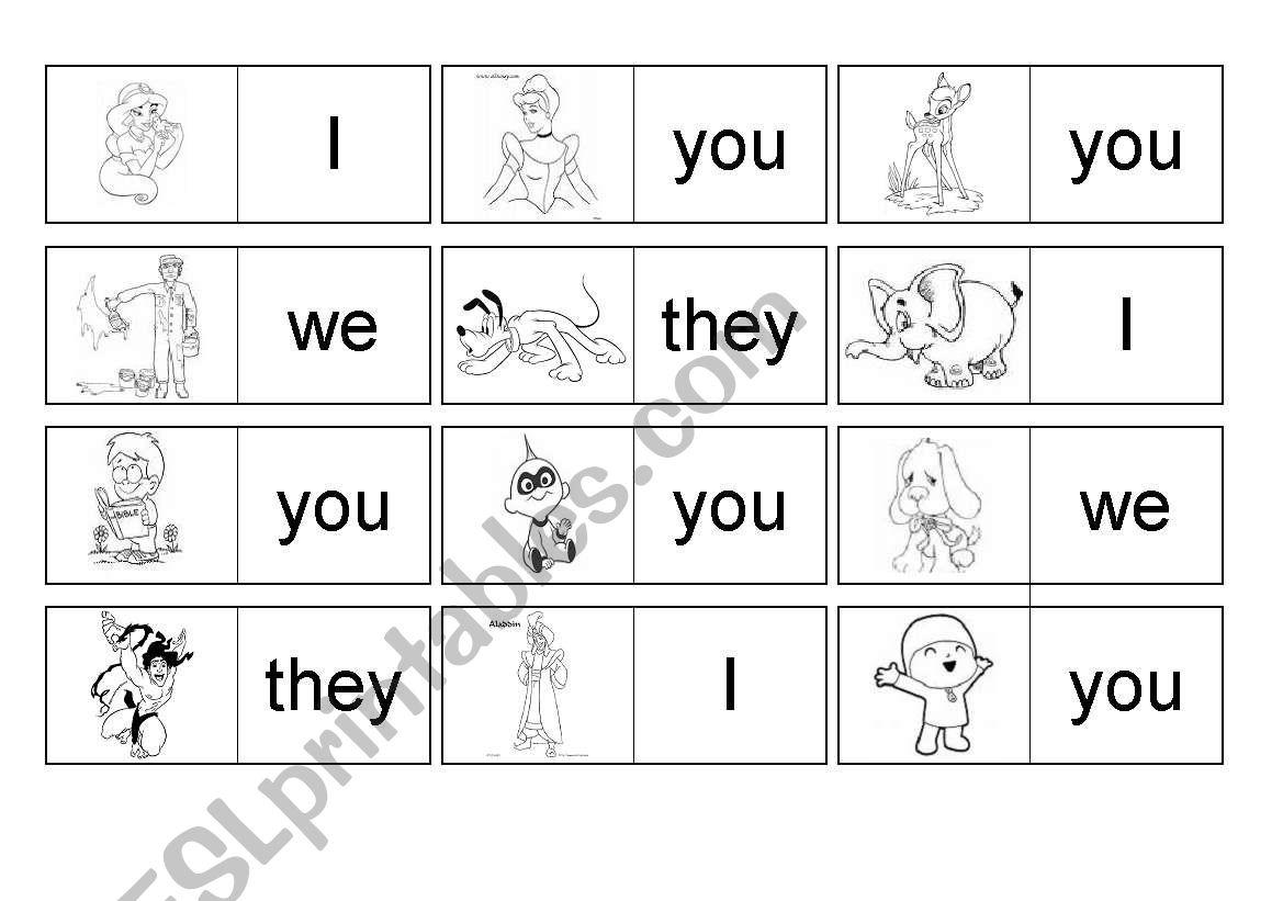 Personal Pronous Domino worksheet