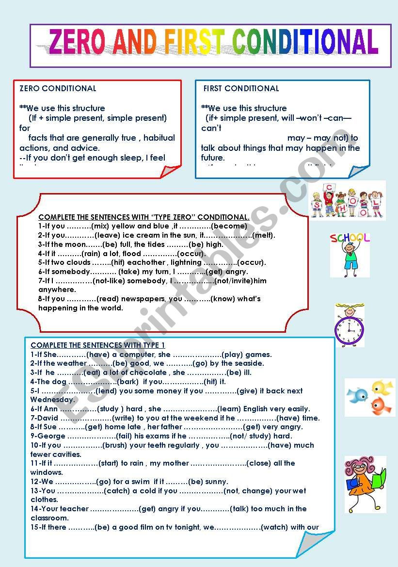 Zero And First Conditional Esl Worksheet By Nivida