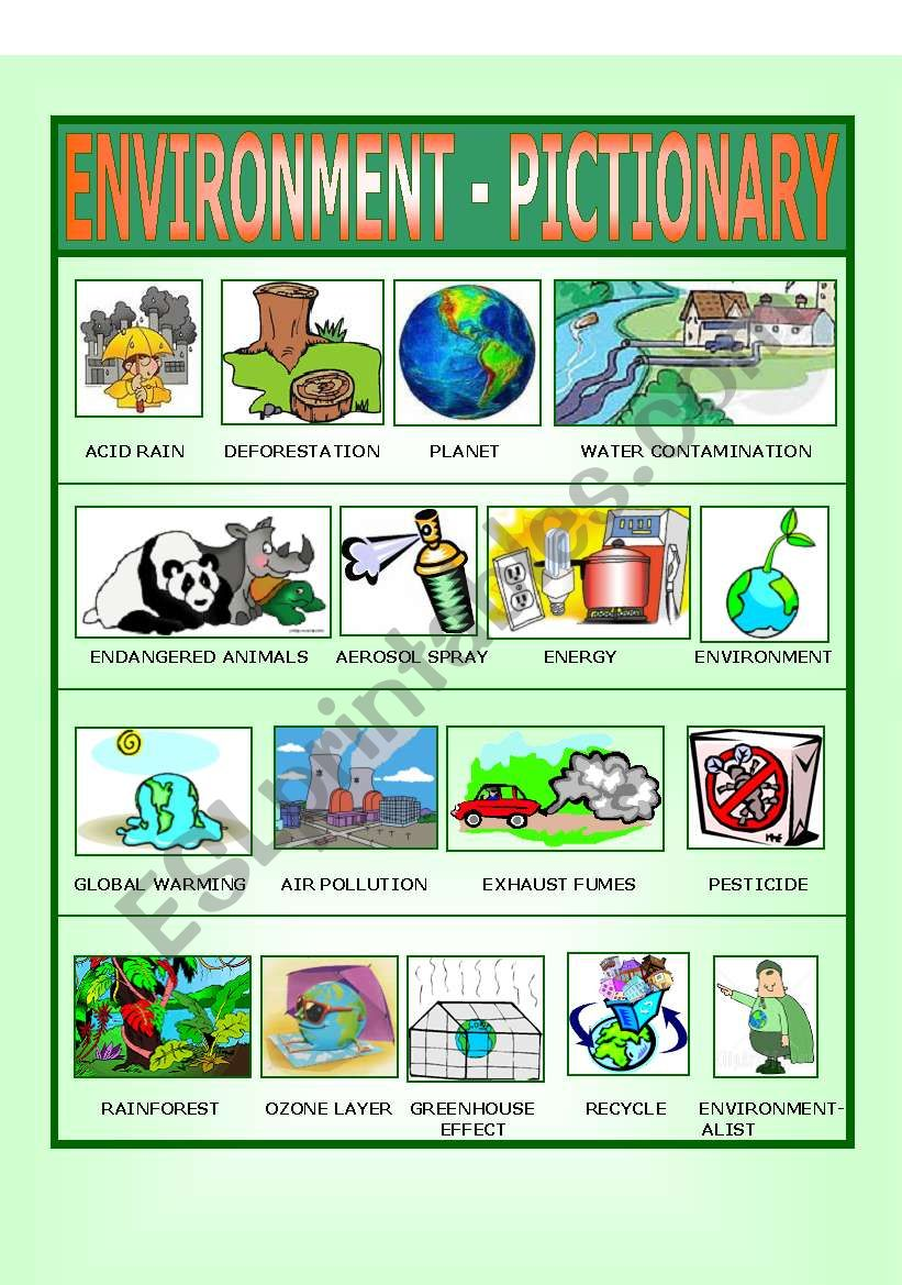Environment - Pictionary worksheet