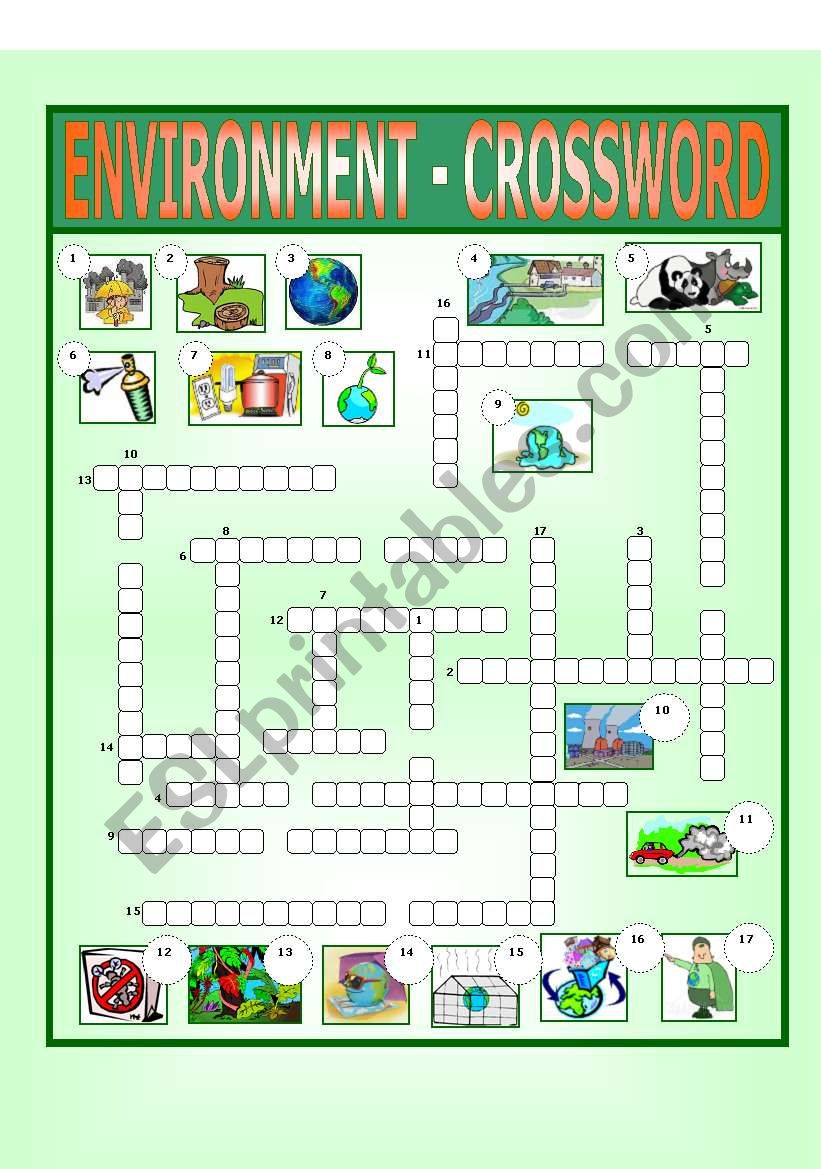 Environment - Crossword worksheet