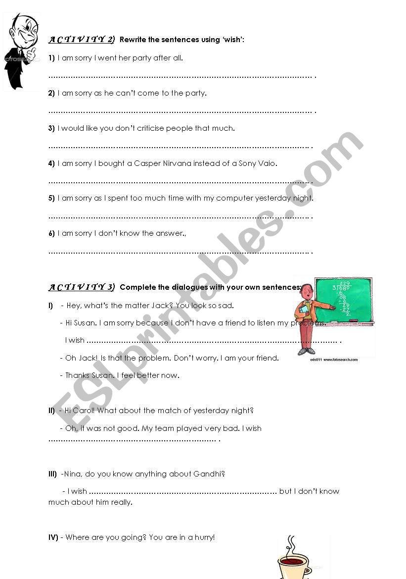 wish worksheet part II worksheet