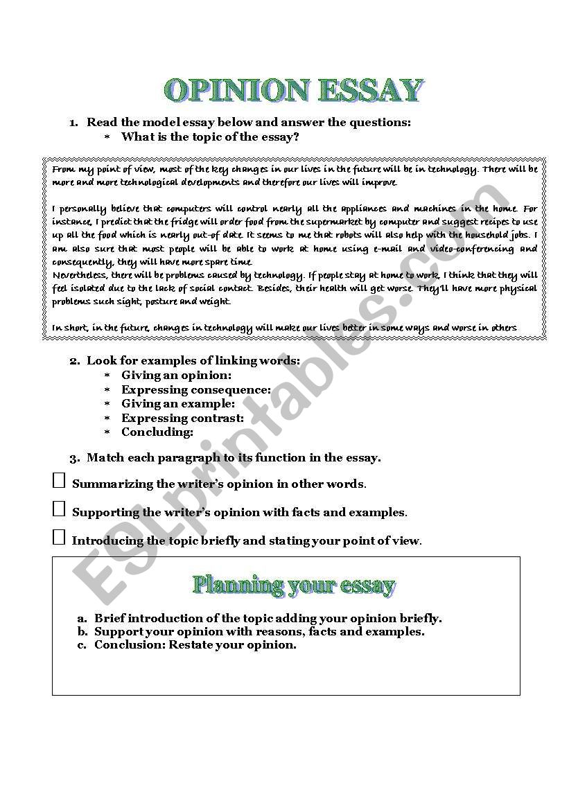 HOW TO WRITE A GOOD OPINION ESSAY