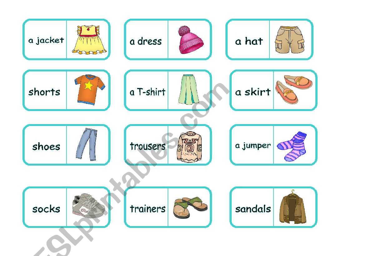 Clothes domino (editable) worksheet