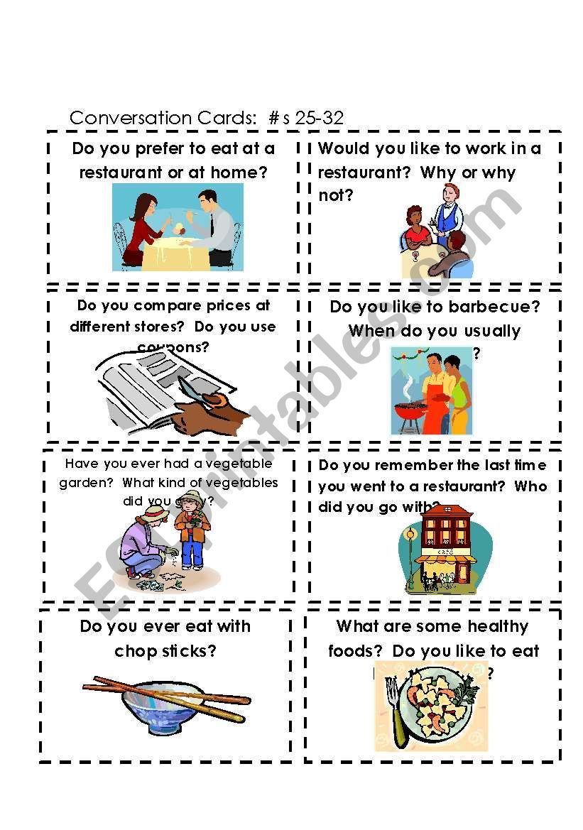 Conversation Cards  Food #s 17-25