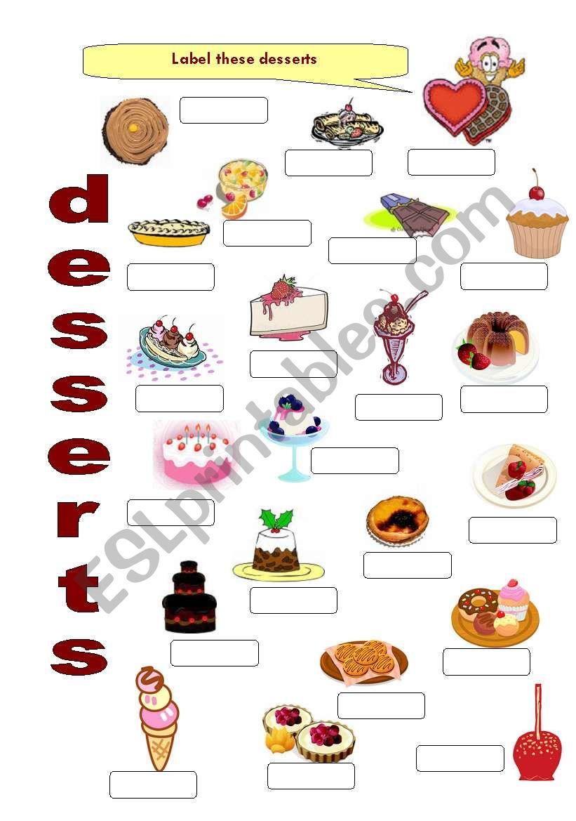 FOOD 7 - Desserts worksheet