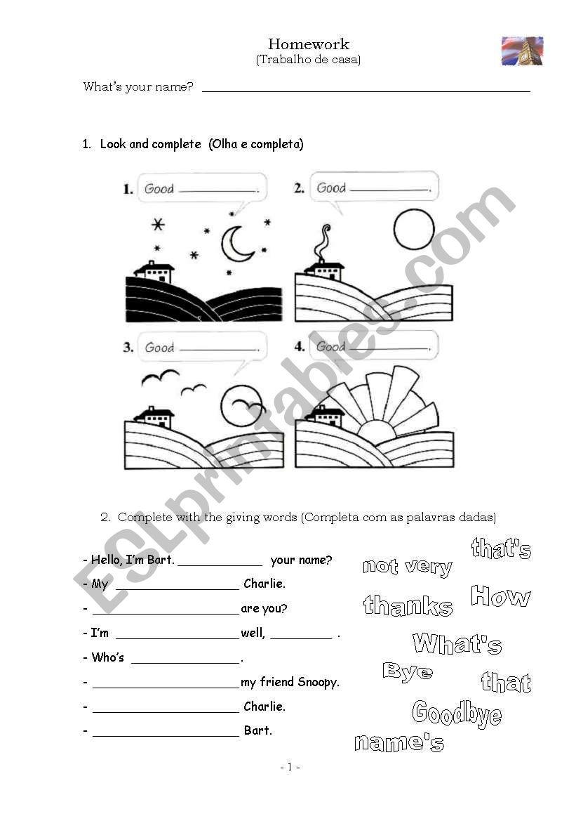 Greetings + Homework worksheet