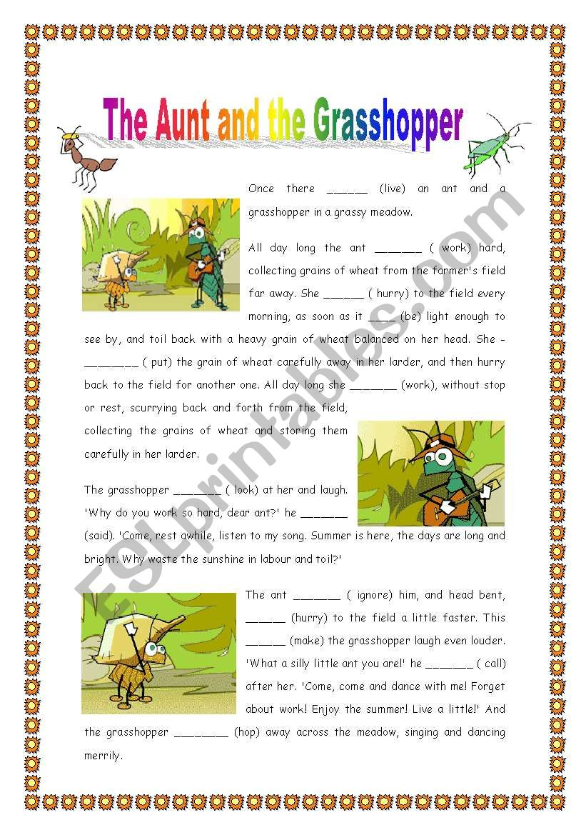 graphic regarding The Ant and the Grasshopper Story Printable named The Ant and the Grhopper - Further than Easy - 2 web pages - ESL