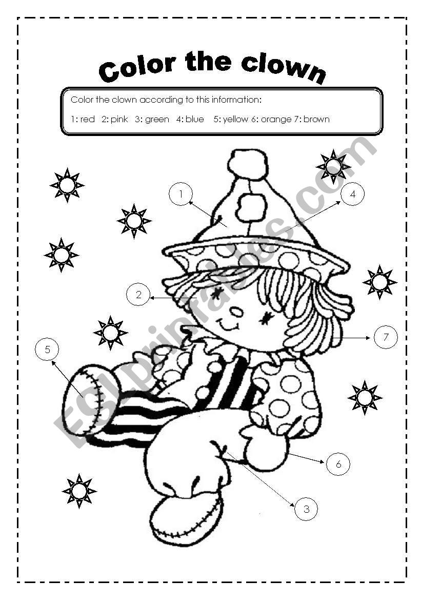 color the clown esl worksheet by yorlejq. Black Bedroom Furniture Sets. Home Design Ideas