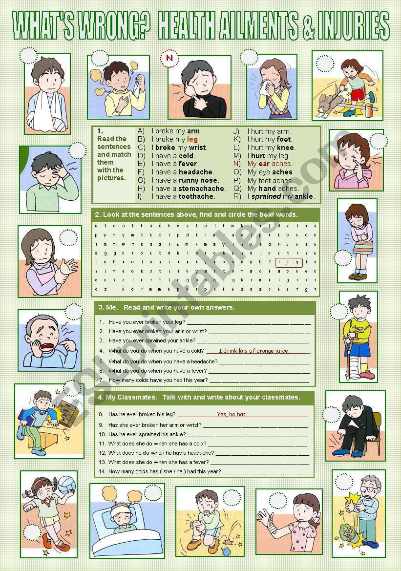 HEALTH AILMENTS & INJURIES worksheet