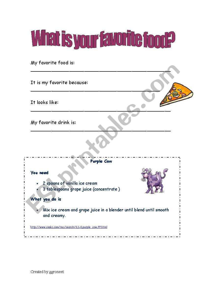 English Worksheets What Is Your Favorite Food