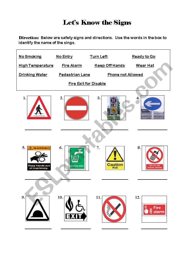 english worksheets safety signs. Black Bedroom Furniture Sets. Home Design Ideas