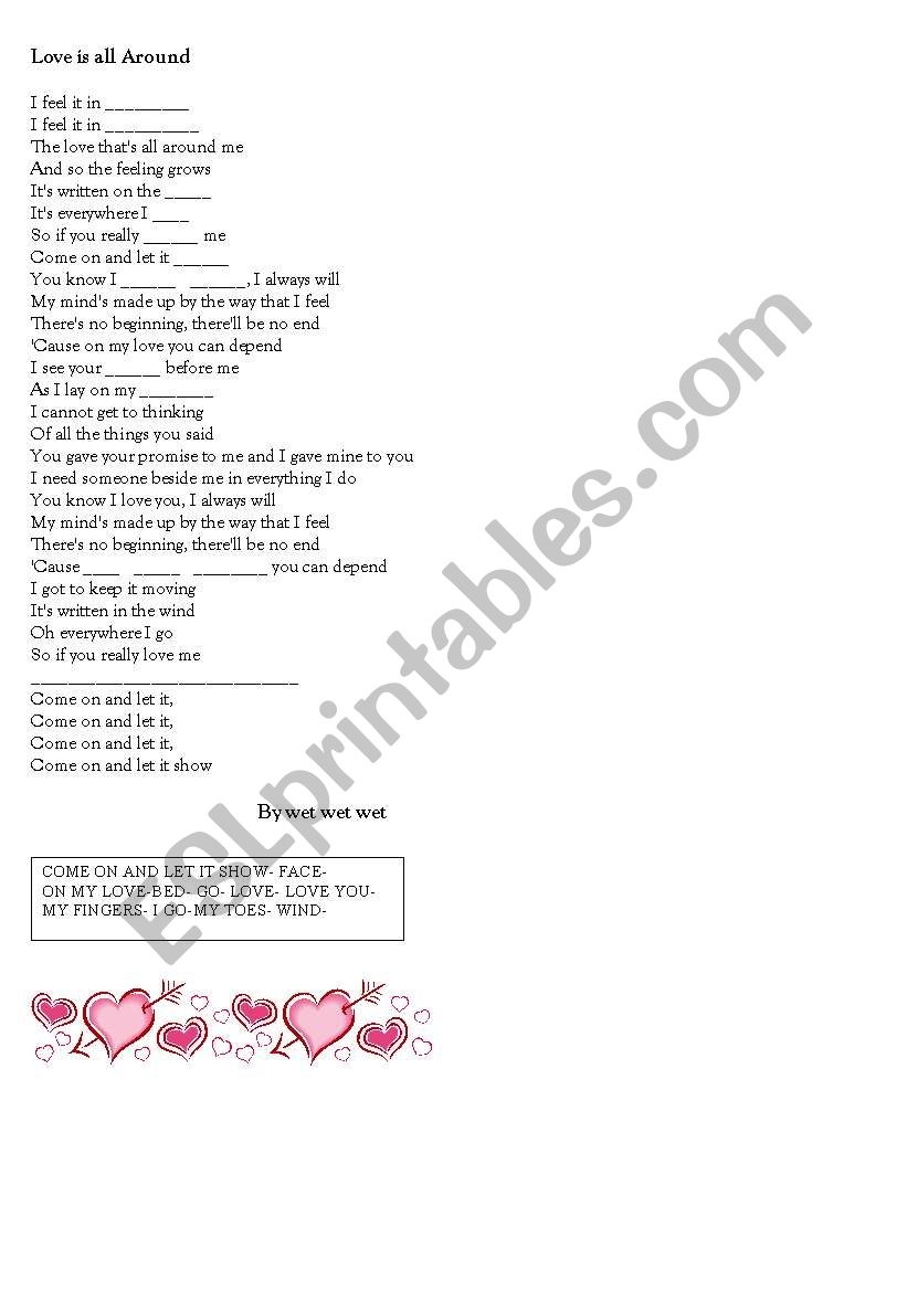 love is all around worksheet