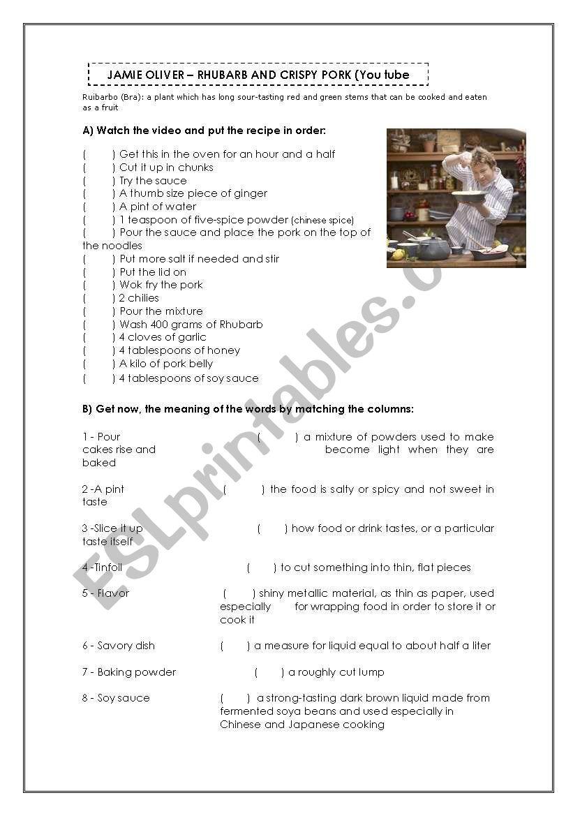 Recipe- Jamie Oliver worksheet