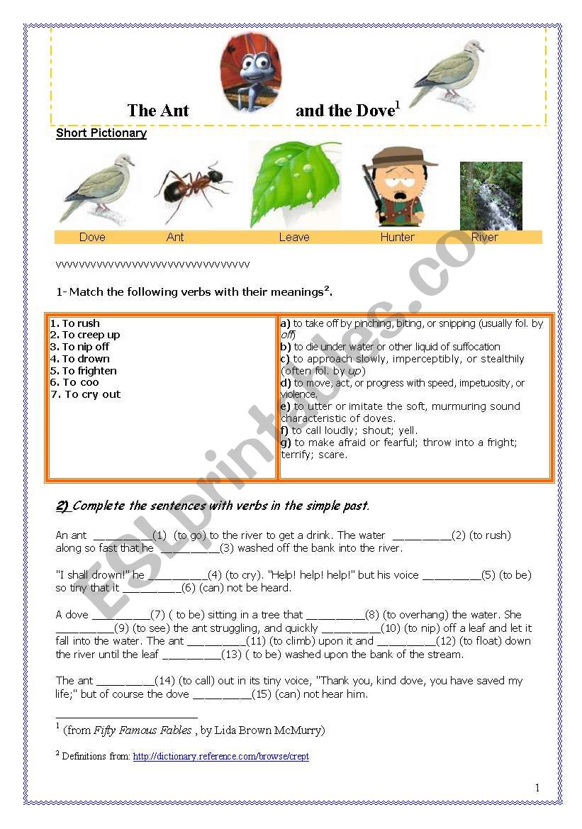 The Ant and the Dove ( Upper Elementary)