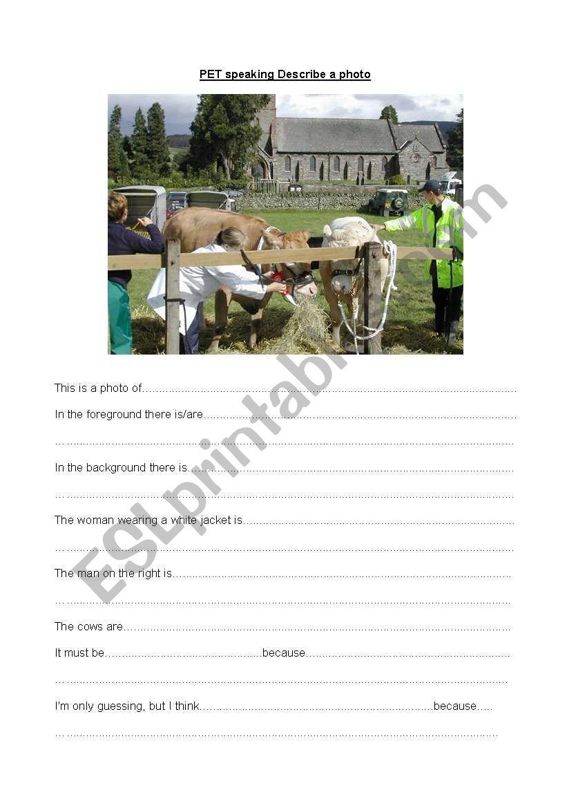 PET speaking Describe a photo worksheet