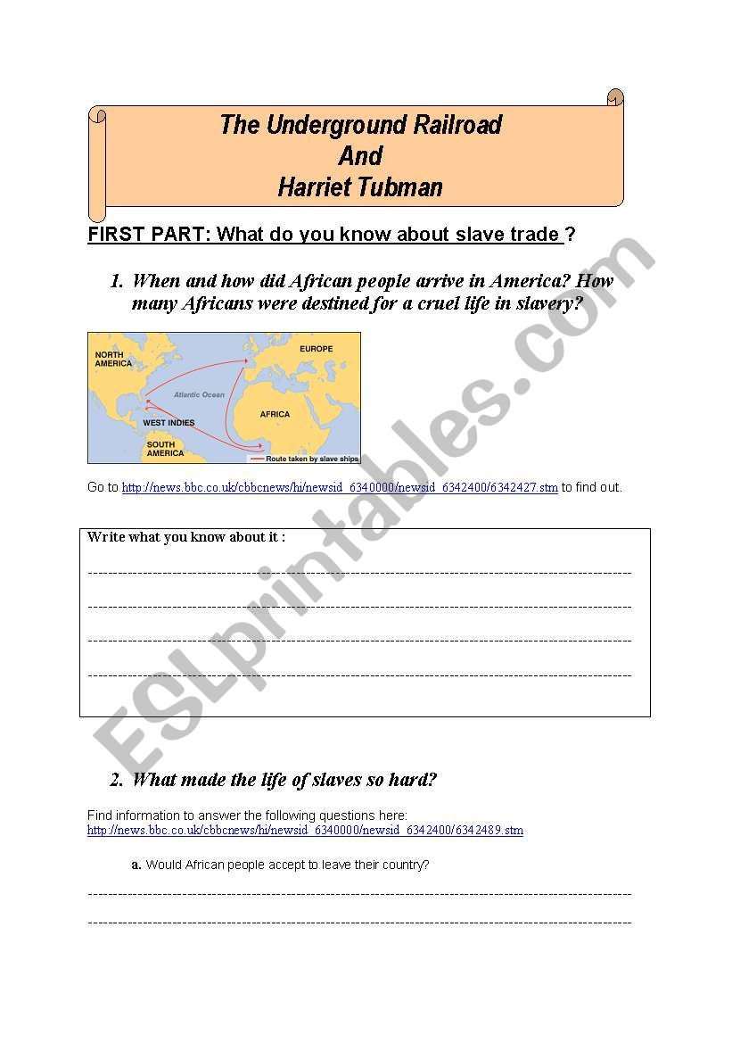 Worksheets Harriet Tubman Worksheets harriet tubman and the underground railroad esl worksheet by flo84 railroad