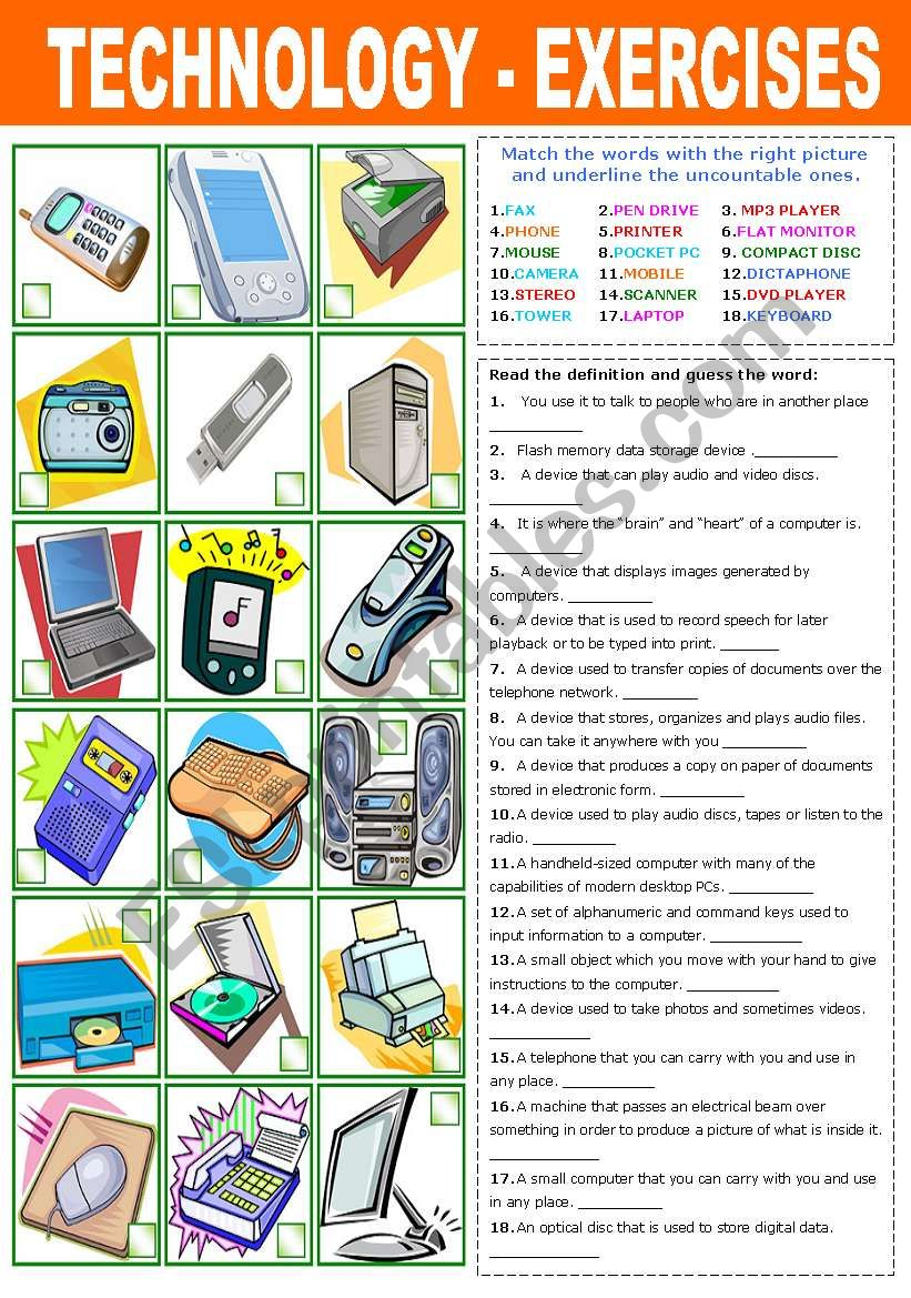 TECHNOLOGY - EXERCISES worksheet