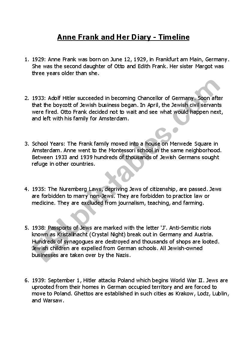 Worksheets Anne Frank Worksheets anne frank worksheets for the unit plan part 2 esl worksheet by 2