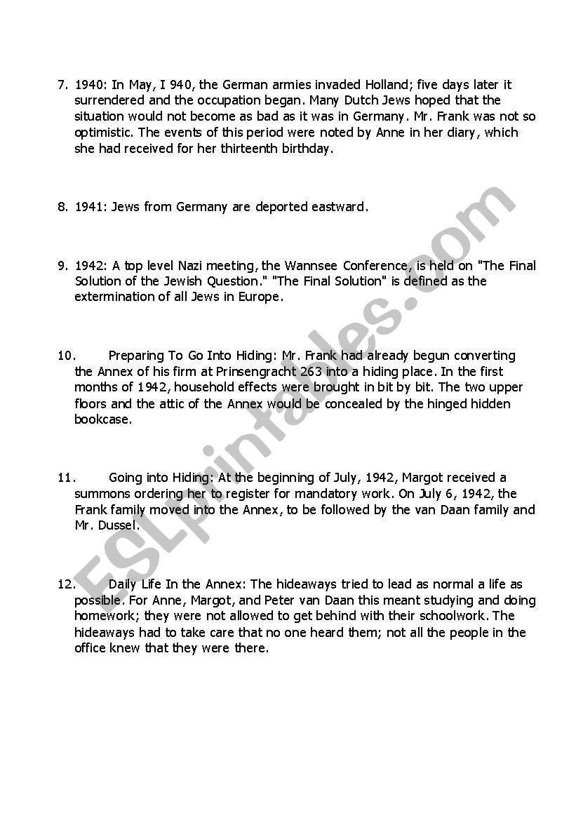 worksheet Anne Frank Worksheets anne frank worksheets for the unit plan part 2