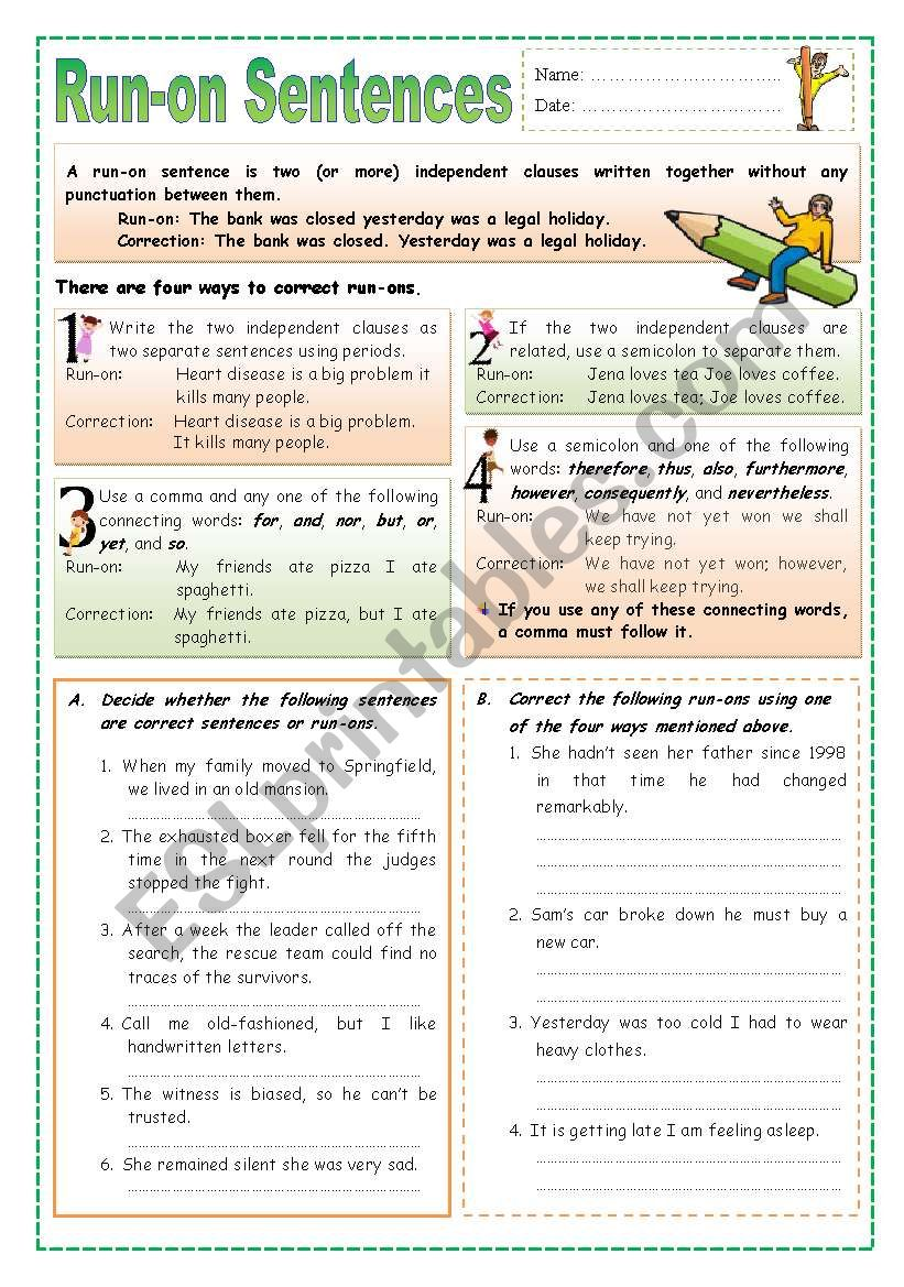 Run-on Setences worksheet
