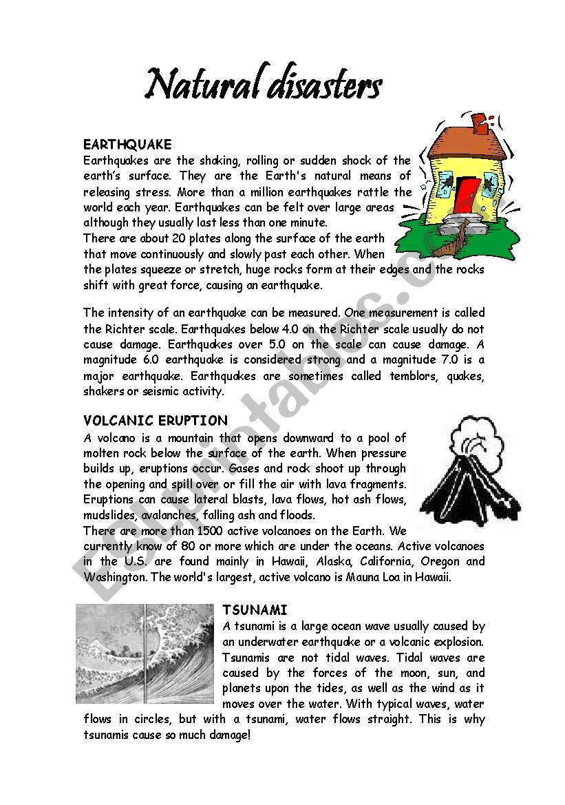 FACTS ABOUT NATURAL DISASTERS worksheet