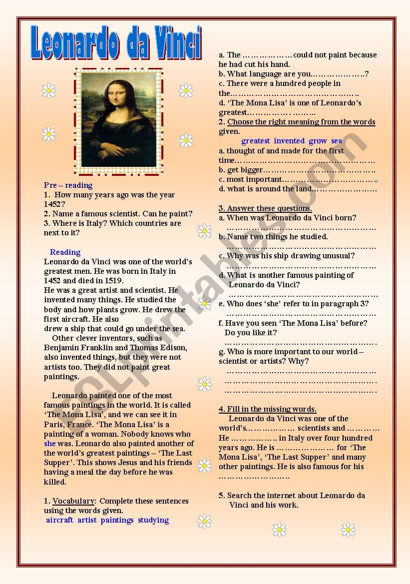 Leonardo da Vinci worksheet