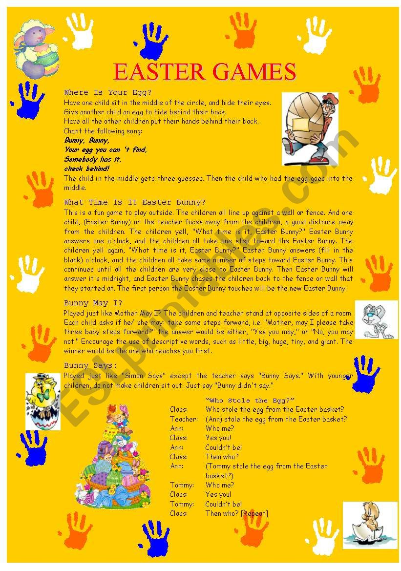 Easter Games worksheet