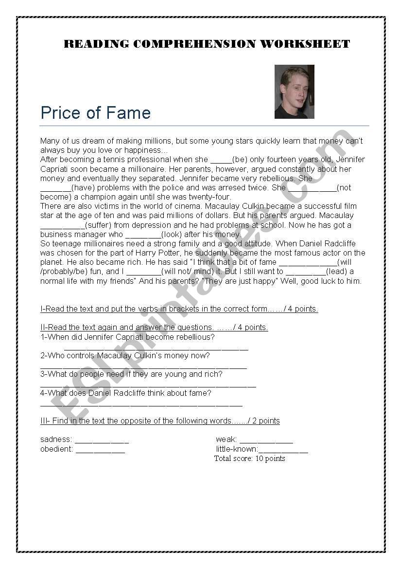 The Price of Fame worksheet