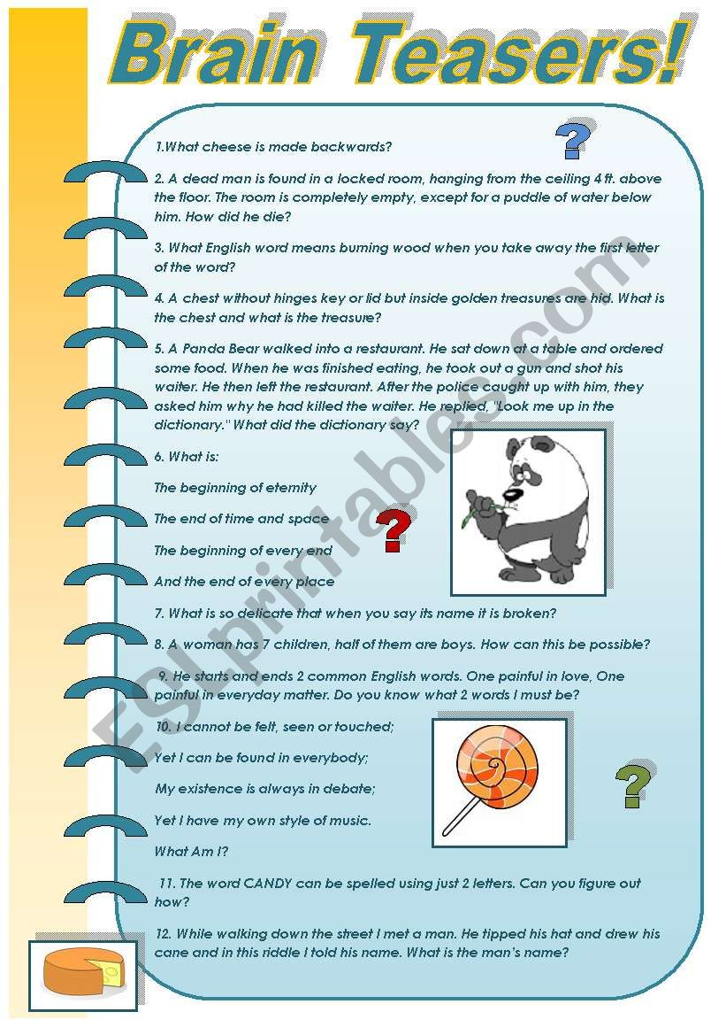 BRAIN TEASERS  PART 3! (FOR ADULTS) With keys