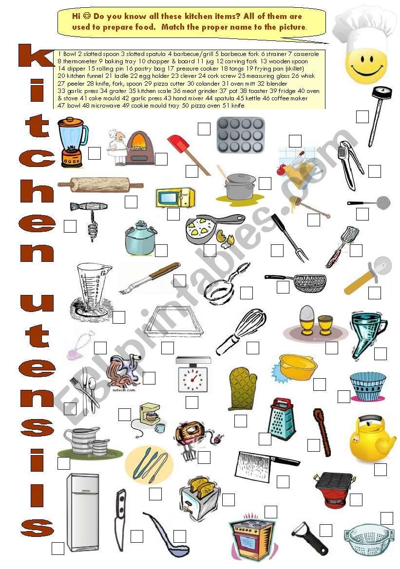 FOOD 9 - Kitchen utensils - ESL worksheet by LuciaRaposo