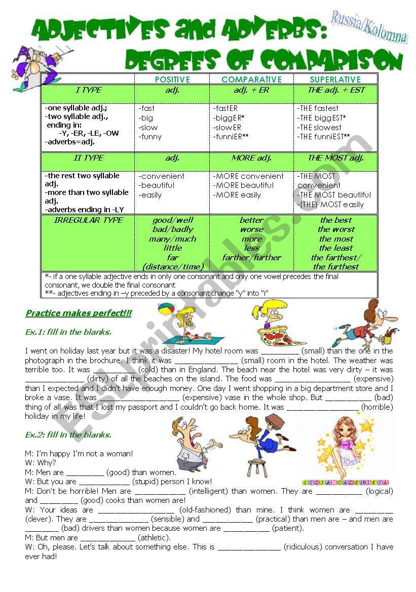 ADJECTIVES and ADVERBS: DEGREES OF COMPARISON
