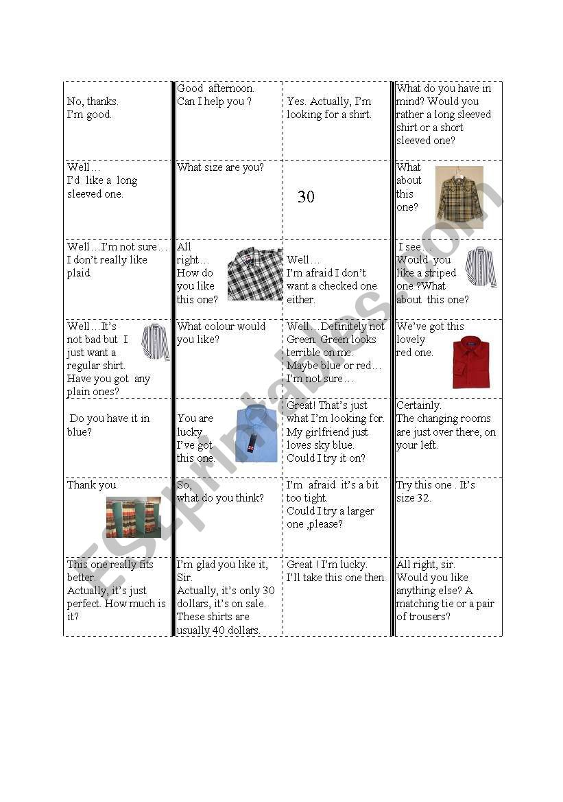 at the clothes shop domino worksheet